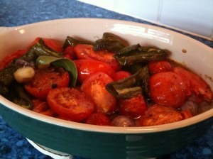 Just out of the oven - roast tomatoes and peppers with onion and garlic