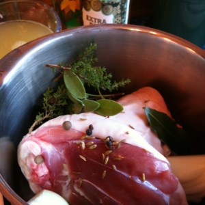 Ham hock ready for boiling