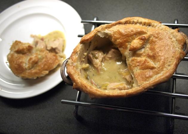 Serving up Turkey and ham pie