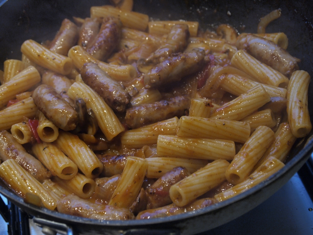 Sausage pasta bake in the pan
