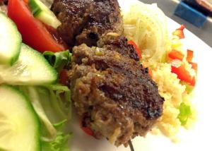 Lamb koftas and salad