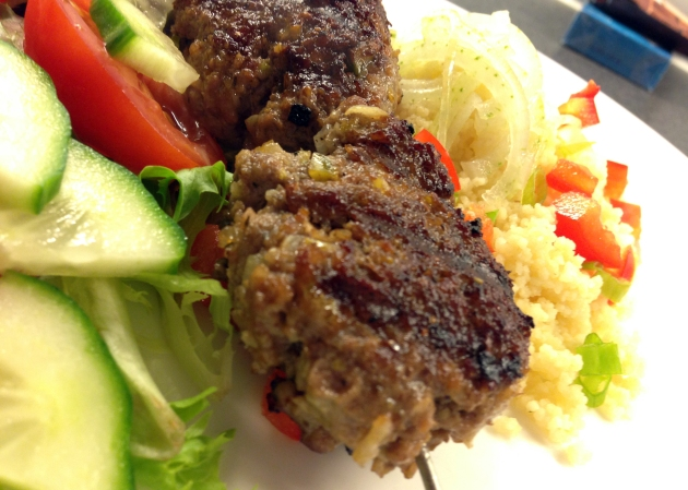 Lamb koftas and salad