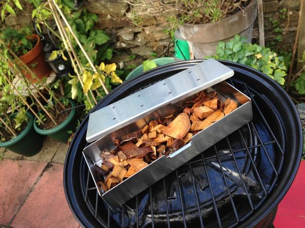 Smoker box and cherry wood chips