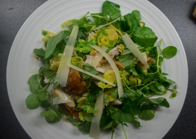 Sprout pecorino and chicken winter salad