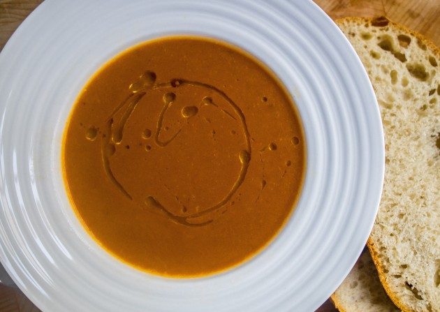 Red pepper and black garlic soup